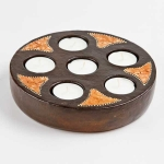 Round terracotta tea-light holder