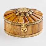 Oval domed wooden trinket box
