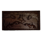 Rectangular wooden box with elephants