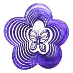 Purple butterfly wind spinner 8""
