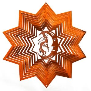 "Copper kokopelli wind spinner 8"""