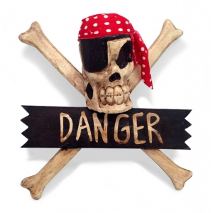Crossbone 'Danger' Wallhanging