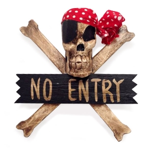 Crossbone 'No Entry' Wallhanging