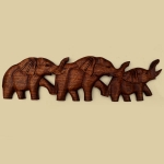 3 Elephant wallhanging (dark wood)