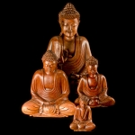 Traditional carved wooden lotus Buddha