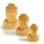 Set of 3 carved wooden Buddha heads