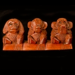 Row of 3 carved wooden monkeys