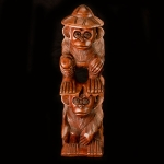 'Gone Fishing' carved wooden monkey