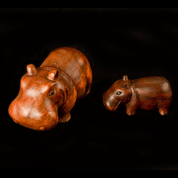 Carved wooden hippo dark wood