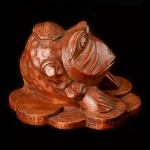 Chinese money toad wood carving