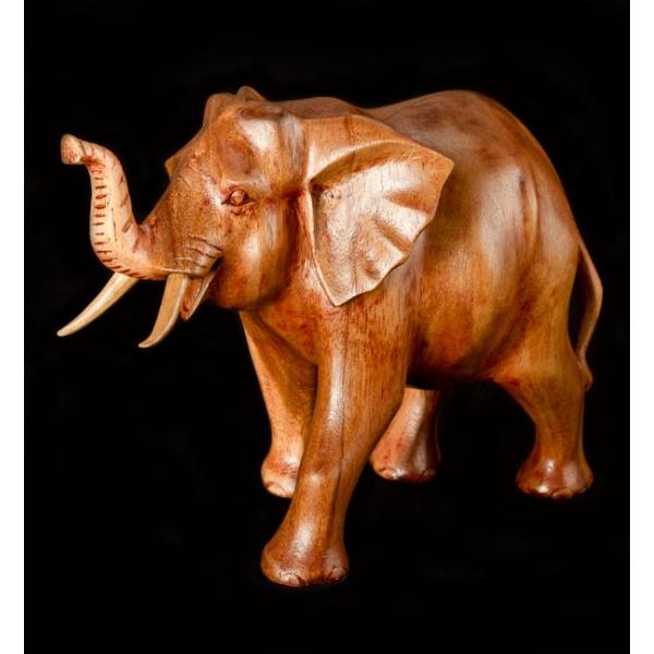 Walking elephant wood carving large