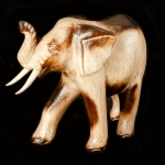 Carved elephant in Albesia wood