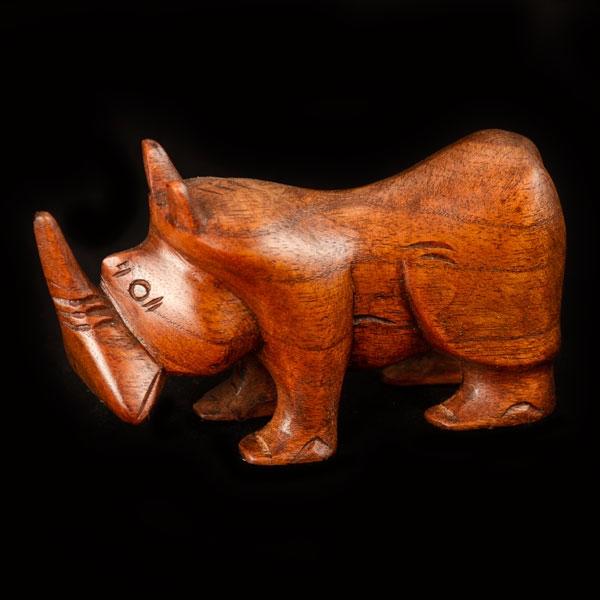 Short carved wooden rhino dark wood