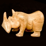 Short carved wooden rhino (light wood)