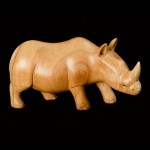 Long carved wooden rhino